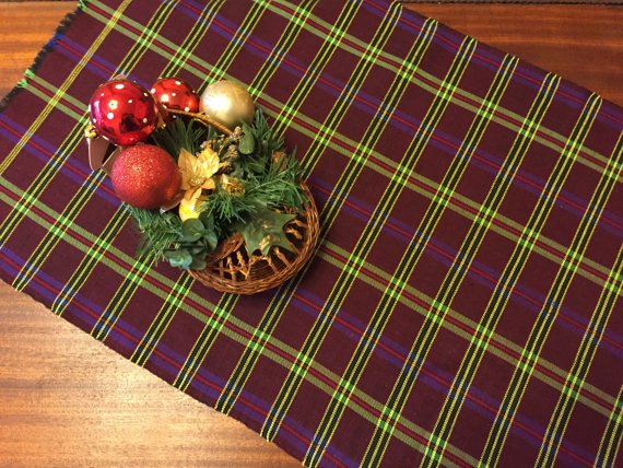 Vintage cotton woved table runner