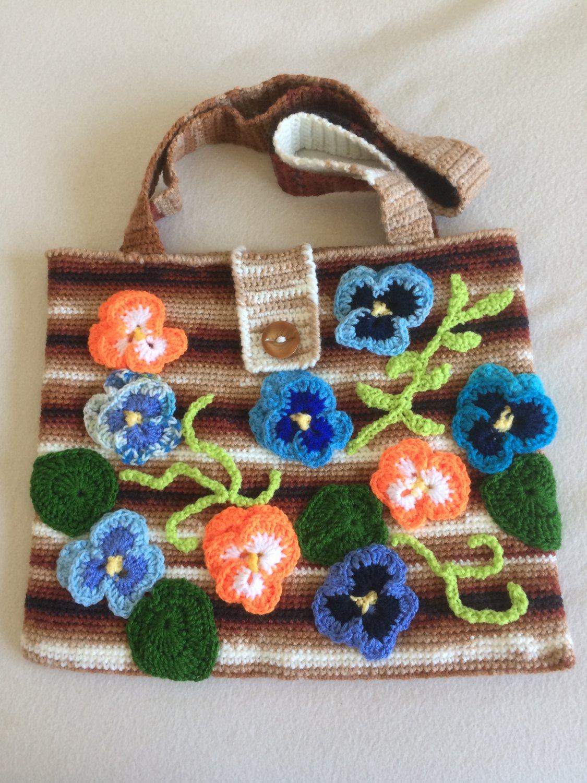 Crochet Pansy Art Pouch