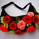 Crochet handbag with rosses and poppies