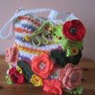 Crochet flowers pouch