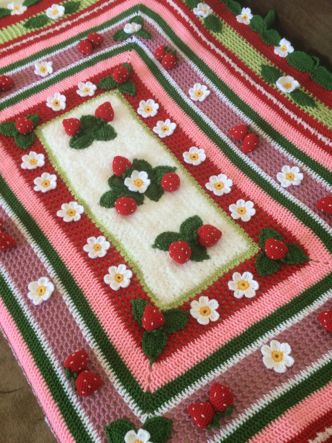 Crochet Strawberry Blanket