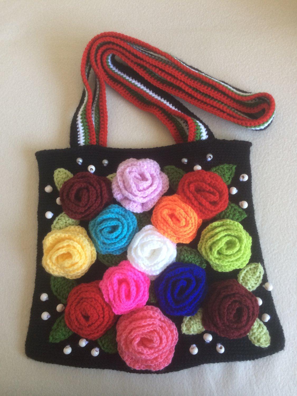 Double-sided crochet handbag ...Free form...Free style