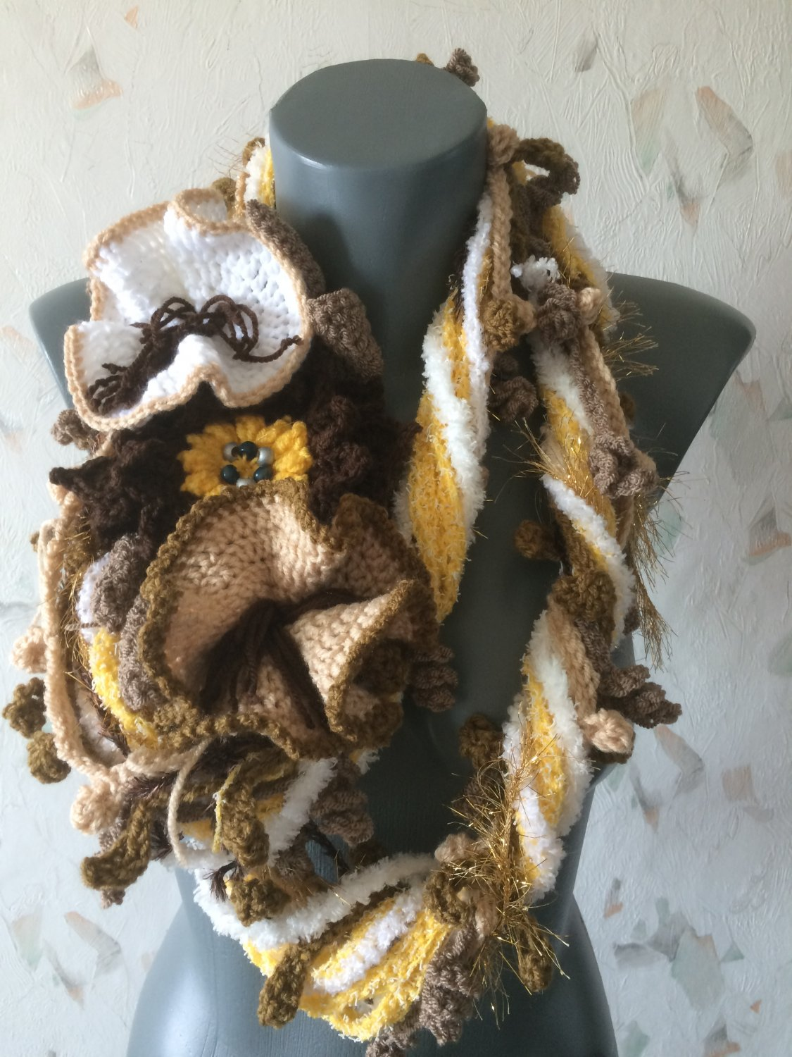 Free form crochet scarf with huge flowers
