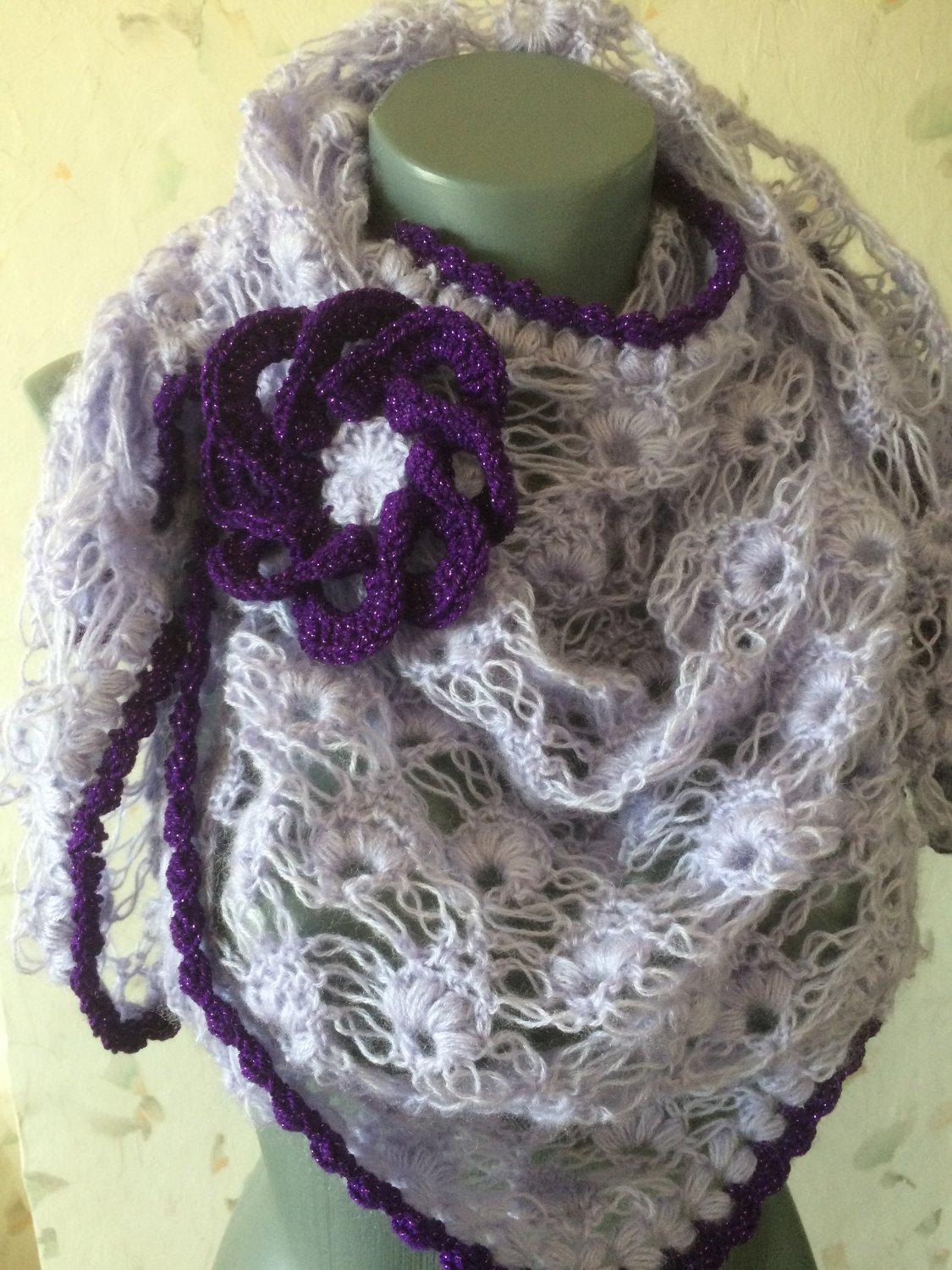 Crochet Mohair Shawl With Removable Flower