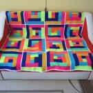 Log Cabin Crochet Blanket
