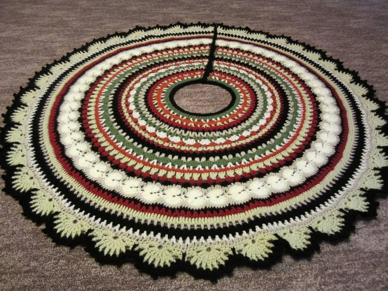 Mandala Crochet Christmas tree skirt