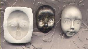 Handmade Polymer Clay Mold Close eyes Doll Face
