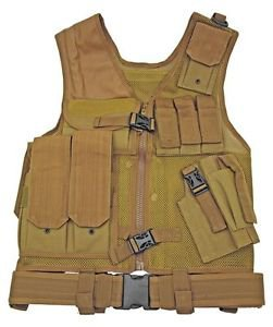 Mesh Tactical Vest - Tan with 7 Pockets