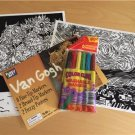 Fuzzy Poster Art to Color Van Gogh Starry Night Fourteen Sunflowers Markers