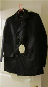 Matchstick Mens Black Wool Double-Breasted Outerwear Pea Coat New with Tags