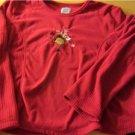 Girls Pajama Top Charles Good Night Size Small Reindeer Red Christmas Holiday