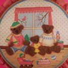 Teddy Bear Family Playroom Bedroom Handmade Punch Embroidery 3D Wall Art Decor