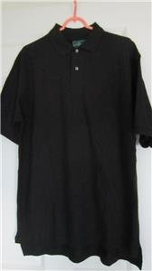 Mens Outer Banks 2 Button Front Collar Polo Rugby Shirt Top Large Black