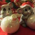 Christmas Salt & Pepper Mice House of Lloyd 1986 Ceramic New