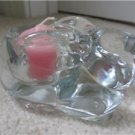 INDIANA GLASS CLEAR RABBIT BUNNY VOTIVE CANDLE HOLDER