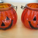 Pumpkin Glass Candle Holders Handle Set of 2 Halloween Fall Harvest Thanksgiving