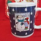 "Christmas Holiday Season Mug Cup  4"" Tall Blue Snowman Tree Scene"