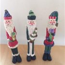 "Christmas Pencil Santa Figurines 7"" Tall  Set of 3"