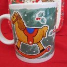 "Christmas Holiday Season Mug Cup 4 1/2"" Tall Rocking Horse and Holly"
