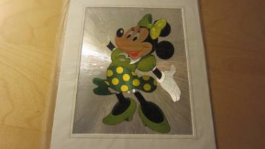 "Minnie Mouse Green Outfit Walt Disney Shiny Picture in Frame Sealed New 12""x10"""
