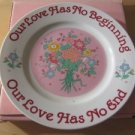 "Love Papel Pink 7"" Dish Plate Our Love Has No Beginning Our Love Has No End NIB"