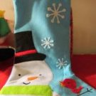 "Christmas Holiday Stocking Felt Light Blue Snowman Snow Flakes 14 1/2"" Tall"