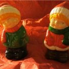 Vintage Ceramic Snow Girl and Boy Christmas Salt & Pepper Shakers 1989