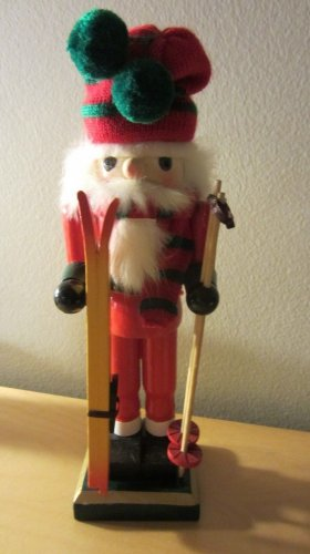 "Christmas Holiday Nutcracker Winter Snow Skier 9"" Tall with Box Wood"