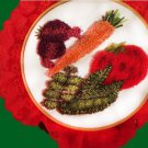 Punch Embroidery Vegetables 3D  Red Trimmed Wall Handmade Art Decoration
