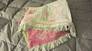 "Baby Blanket 47"" X 35"" Pink Yellow Green Blue Reversible Bunny Bear Lamb Moon"