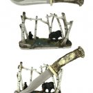 Bear Wildlife Hunting Knife with Display