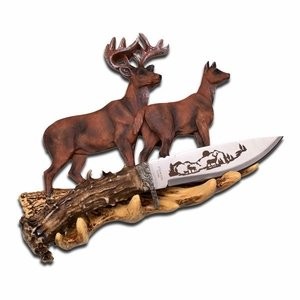 "8"" Collectible Deer Knife & Stand"