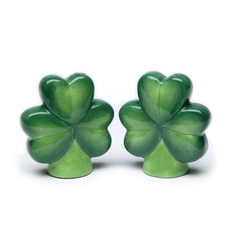 Four-Leaf Clover and Three-Leaf Shamrock Salt and Pepper Shakers