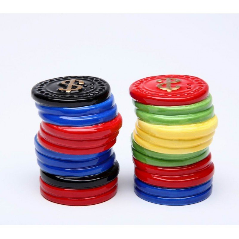 Two Piece Set of Assorted Colored Poker Chip Salt and Pepper Shakers