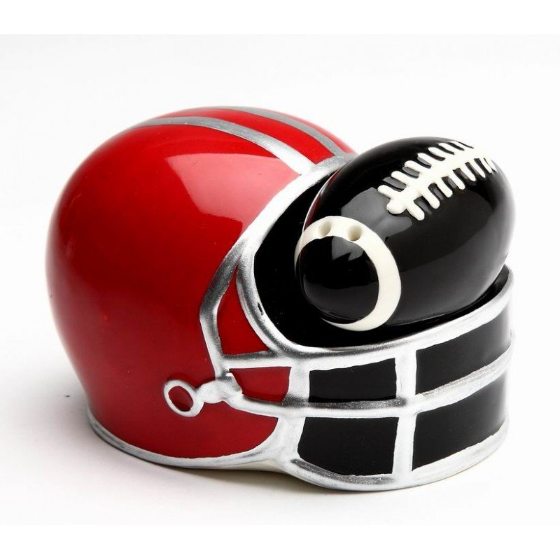 Small Black Football in Red Helmet Salt and Pepper Shakers