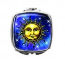 Celestial Stars Sun Face Stainless Steel Compact Pocket Mirror