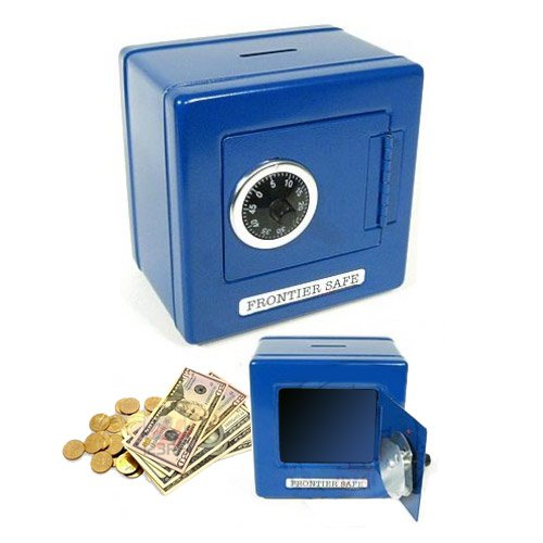 """Blue 6"""" Metal Frontier Classic Bank with Combination Lock and Coin Slot"""