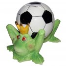 Frog Prince with Soccer Ball Ceramic Piggy Bank By Ray Dowis