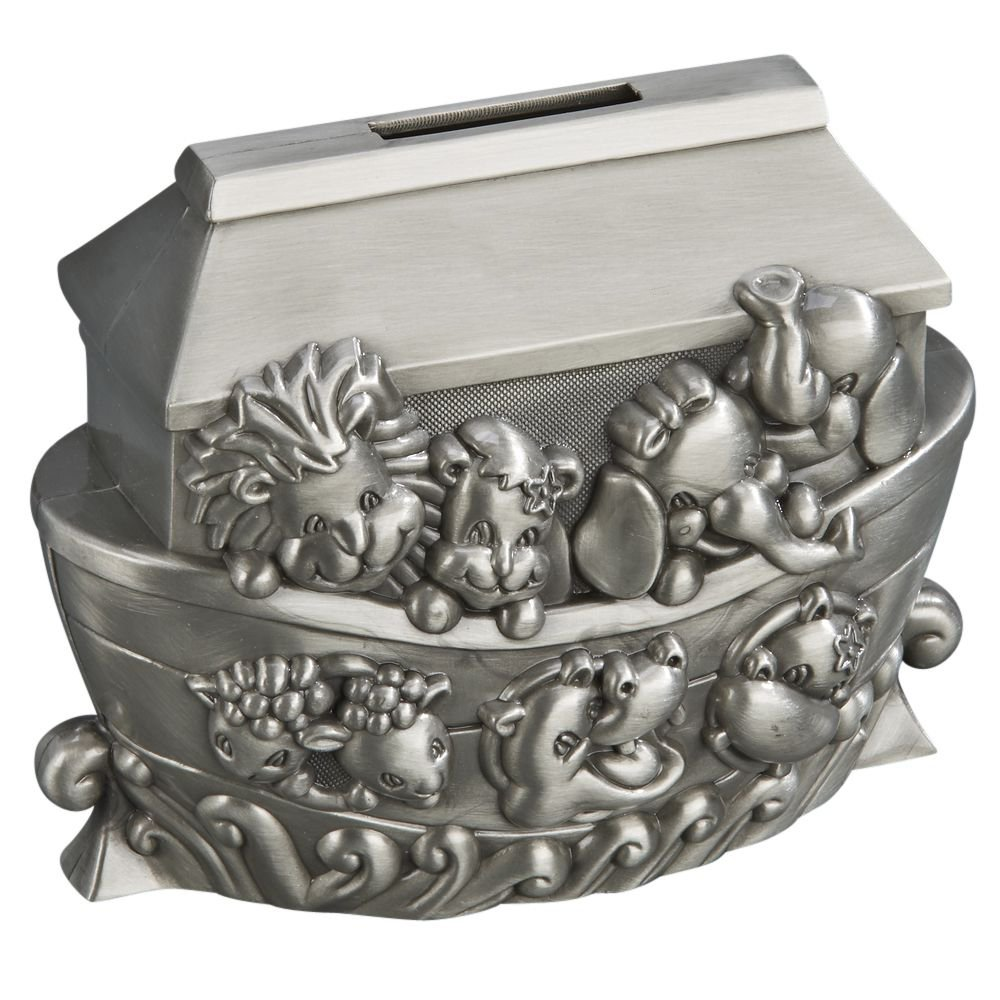 Noah S Ark Pewter Engravable Safe Piggy Bank With Coin Slot