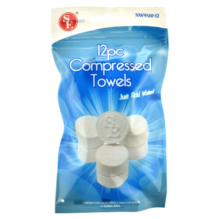 12Pc Compressed Disposable Towels 100% Rayon