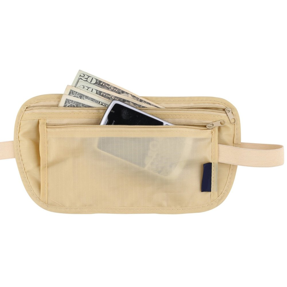 Travel Money Belt Id Passport Body Security Waist Pouch Khaki Ultra Slim & Waterproof