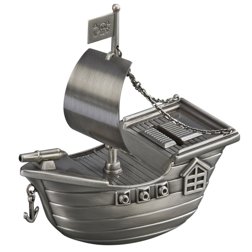Pirate Ship Money Bank Antique Style Boat Pewter Finish