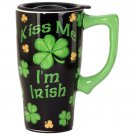 Kiss Me I'm Irish Travel Mug, Black