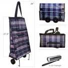 Foldable Shopping Cart Trolley Bag with Wheels & 9 LED Flashlight