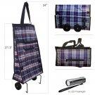 Foldable Shopping Cart Trolley Bag with Wheels & 9 LED Flashlight
