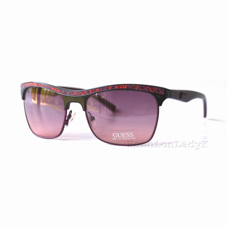 GUESS Women Berry Frame Purple Lens Sunglasses GU7137 BER-45 New w/ Case