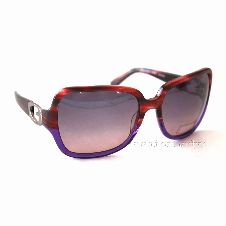 GUESS Women Burgundy Frame Purple Lens Sunglasses GU7060 BUPR-50 New w/ Case