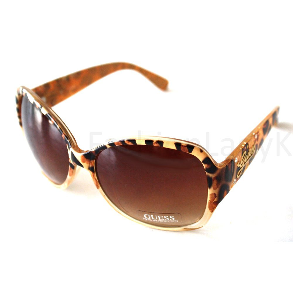 GUESS Women Ivory Frame Brown Lens Sunglasses GU7172 IV-34 New w/ Case