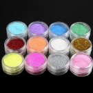 Fashion 12 Color Metal Glitter Nail Art Tool Kit Acrylic Powder Dust gem Polish Nail Tools