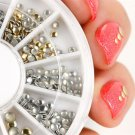 500Pcs 1.2mm/2mm/3mm Mini Gold And Silver Round Stud Rhinestone Nail Art Decoration